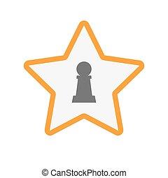 schaakspel, ster, pion, figuur, vrijstaand
