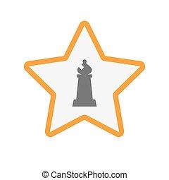 schaakspel, vrijstaand, figuur, ster, bisschop
