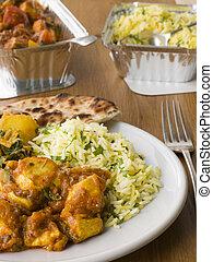schaaltje, away-, doorzakking, bhoona, pilau, aloo, indiër, nemen, chicken, rijst