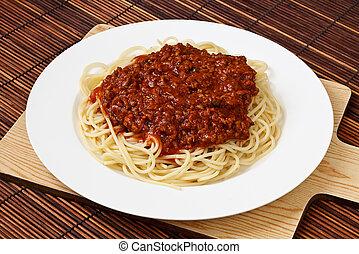 schaaltje, bolognese, spaghetti
