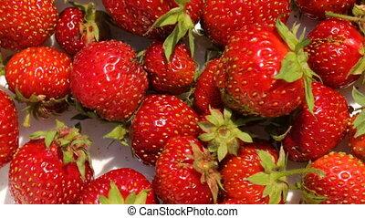 schaaltje, closeup, aardbeien