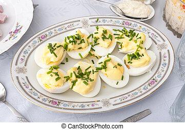 schaaltje, eitjes, natuurlijke , mayonaise, licht