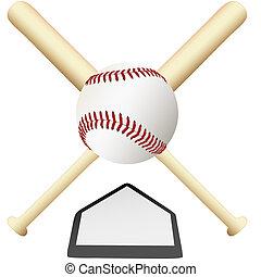schaaltje, embleem, gekruiste, op, honkbal, thuis, knuppels