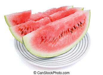schaaltje, gedeelten, drie, water-melon, wit rood