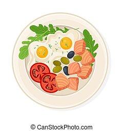 schaaltje, gediende, schijfen, eitjes, salmon, gebraden
