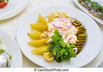 schaaltje, groentes, closeup, zuurkool, gediende