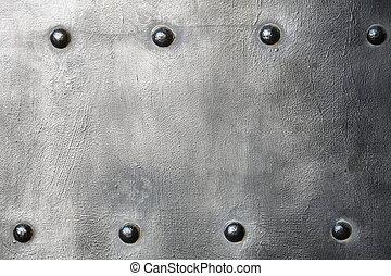 schaaltje, harnas, metaal, textuur, of, black , klinknagelen