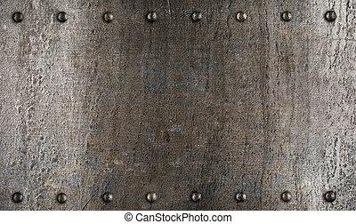 schaaltje, harnas, metaal, textuur, of, klinknagelen
