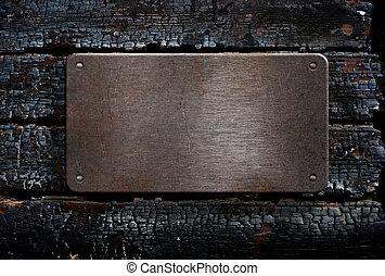 schaaltje, houten, op, metaal, achtergrond, gebrande