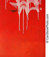 schaaltje, lek, metaal, druppel, versleten, label, vieze , wit rood