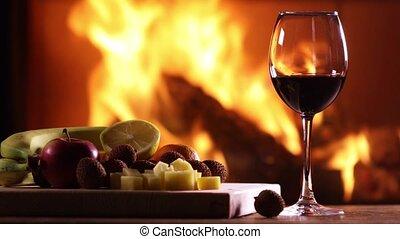 schaaltje, leven, kaas, glas, fruit, nog, wijntje