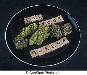 schaaltje, met, cannabis, knoppen, op, black , -, infused,...