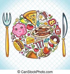 schaaltje, met, voedingsmiddelen