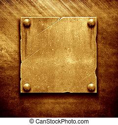 schaaltje, metaal, naam, goud