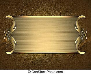 schaaltje, naam, goud, randen, achtergrond, sierlijk