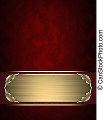 schaaltje, naam, goud, trim., -, textuur, ontwerp, mal, rood