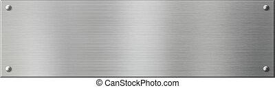 schaaltje, of, metaal, zilver, klinknagelen, plaque