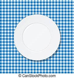 schaaltje, op, blauwe , tafelkleed