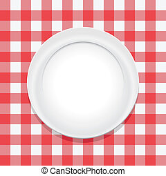 schaaltje, picknick, vector, rode tablecloth, lege