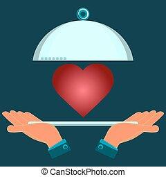 schaaltje, portie, heart., valentine, liefde, day., holdingshanden, investering, rood, health.