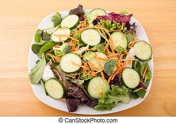 schaaltje, slaatje, akker, hout, groen groente, tafel, witte