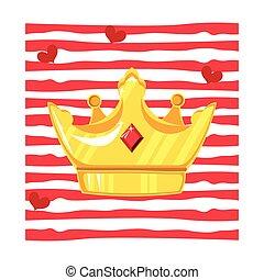 schaaltje, steen, stroken, gouden kroon, kostbaar