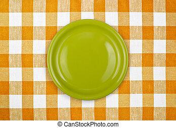 schaaltje, tafelkleed, gecontroleerde, groene, gele