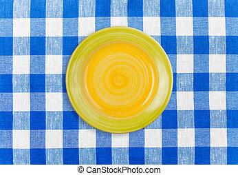 schaaltje, tafelkleed, gecontroleerde, ronde, gele
