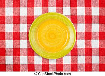 schaaltje, tafelkleed, gecontroleerde, rood geel