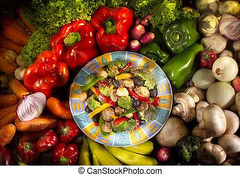schaaltje, van, vegetarian voedsel, met, groentes