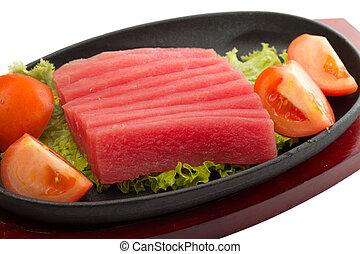 schaaltje, visje, vrijstaand, stukken, rauwe, verse tonijn