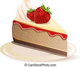 schaaltje, vrijstaand, aardbei, achtergrond, taart, witte