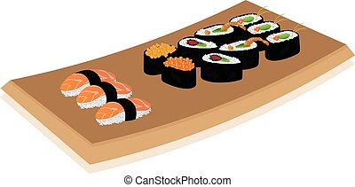 schaaltje, witte , sushi, achtergrond