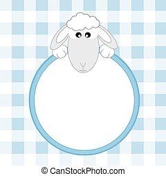 schaap, blauwe , frame