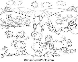 schaap, herdershond, kleuren, dog, illustratie, kinderen, vector, wei, spotprent