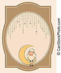 schaap, illustratie, schattig, maan