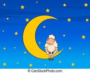 schaap, schattig, maan