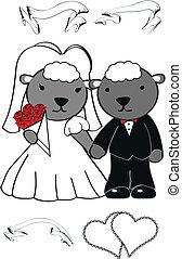 schaap, schattig, set, spotprent, trouwfeest