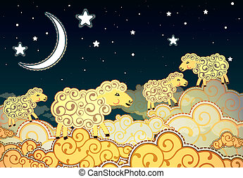 schaap, stijl, wolken, wandelende, nacht, spotprent