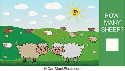 schaap, velen, spel, hoe, getallen, vector, mathematics., leren, children., telling, illustration.