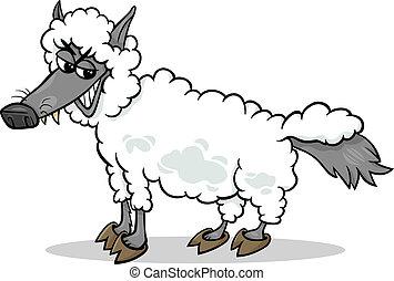 schaap, wolf, kleding, spotprent