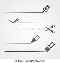 schaar, dividers, kleurpotlood, pen