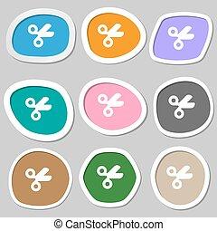 schaar, kapper, kleermaker, pictogram, symbols., veelkleurig, papier, stickers., vector