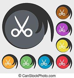 schaar, kapper, meldingsbord, icon., kleermaker, symbool., symbolen, op, acht, gekleurde, buttons., vector