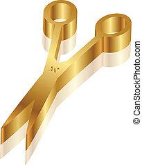 schaar, pictogram, vector, goud, 3d