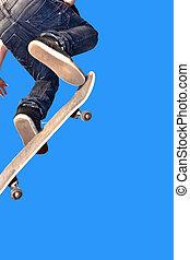 schaatsen, gaan, plank, lucht