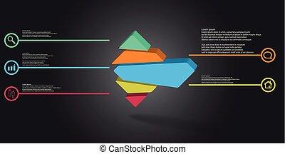 schablone, 3d, rhomb, infographic, geteilt, randomly, fünf, zubehörteil, abbildung, geprägt