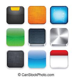 schablone, app, quadrat, modern, icons.