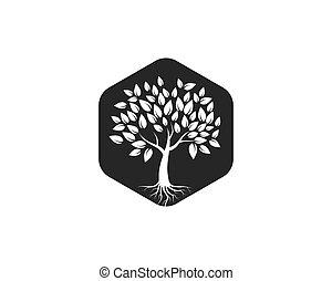 schablone, baum, vektor, logo, ikone