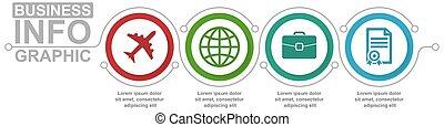 schablone, diagramm, 4, vektor, infographic, geschäftskonzept, darstellung, optionen